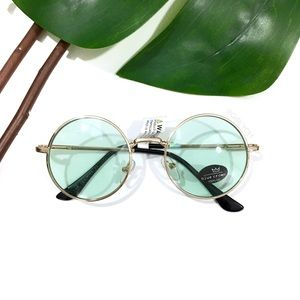 Accessories - Blue Green Tinted Small Circle Lennon Sunglasses